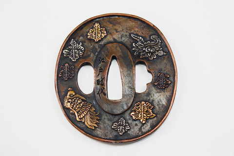 TC067 FLOWER BIRD PATTERN TSUBA