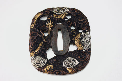 TD014 BIG DRAGON CLOUD TSUBA