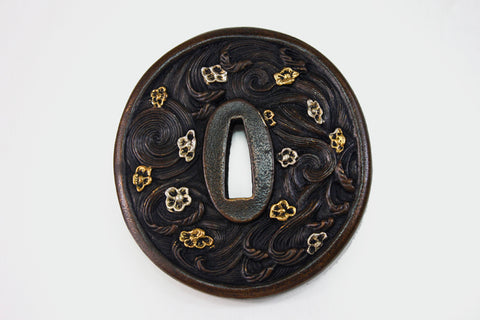 TD018 FALLING FLOWER FLOWING WATER TSUBA