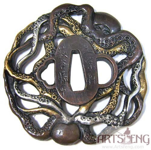 TD034 BRASS BASE GILTED SILVERING OCTOPUS TSUBA