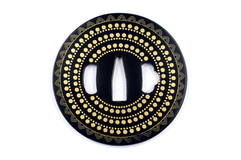 TE007 JAPANESE KATANA IRON TSUBA WITH PATTERN