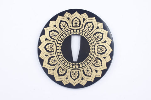 TE010 JAPANESE KATANA IRON TSUBA WITH PATTERN