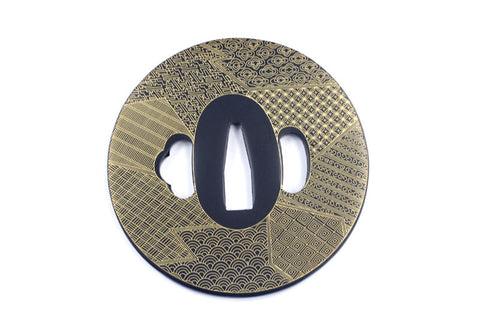 TE012 JAPANESE KATANA IRON TSUBA WITH PATTERN