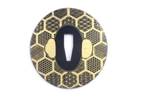TE013 JAPANESE KATANA IRON TSUBA WITH PATTERN