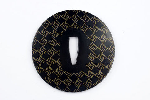 TE021 JAPANESE KATANA IRON TSUBA WITH PATTERN