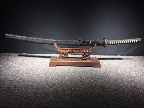 High Manganese steel clay tempered hand made gilt silvering brass fitting black rayskin  Japanese samurai sword katana