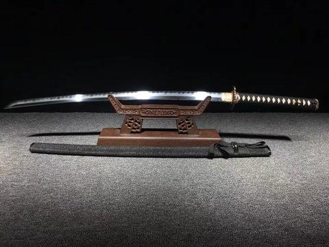 Folded steel Clay tempered gilt silvering brass fitting  black rayskin Finely hand made High Class Japanese samurai sword katana