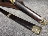 Finey hand made folded steel tempered brass fitting balck ebony Japanese samurai sword katana
