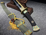 Clay Tempered Folded Steel Hand Made gilt brass Fitting high class Rayskin saya Chinese sword Qianlong Dao for ceremony
