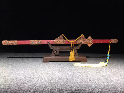 Hand made Carved brass fitting  Finely made top class red rayskin Chinese Sword Kirin Tang jian