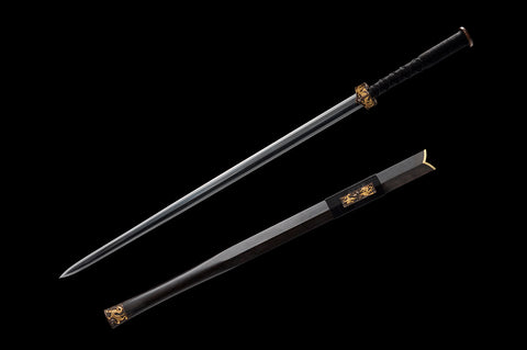 New Folded Steel Feather Texture Gilt silvering brass fitting black ebony Chinese Sword Han Jian