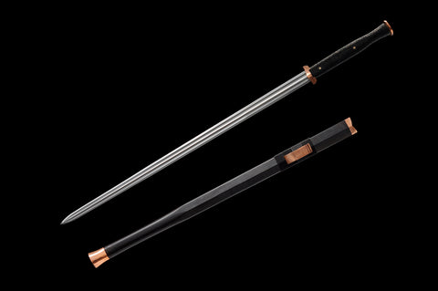 New Folded Steel brass fitting black ebony Rayskin Chinese Sword Han Jian