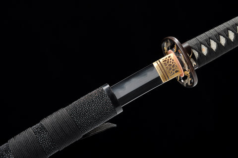 New Manganese steel clay tempered gilt silvering brass fitting Black Rayskin Japanese samurai sword Katana