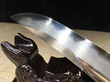 Folded Steel Clay Tempered Ebony battle ready sharp Samurai Sword Tanto Full Tang