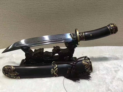Folded Steel Ebony Chinese Qing Dynasty Sword functional Tanto Dragger Full Tang