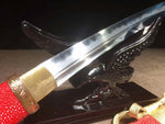 High Quality Folded Steel Clay Tempered?functional?Japanese Samurai Sword Tanto?Hand Grinded?Full Tang