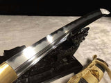 Folded Steel Clay Tempered battle ready Hand Grinded Japanese Samurai Sword Tanto Full Tang