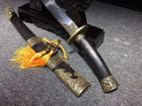 New hand made Carved Brass fitting black ebony  Chinese Sword Qing Dao