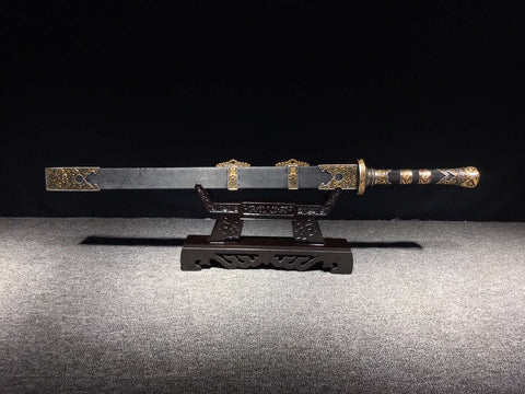 2019 New Folded Steel Gilt brass Fitting Finely Hand made Rayskin black gold Chinese Sword Jian