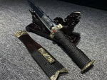 New Folded Steel Brass Fitting Black ebony saya Chinese Sword Han Jian