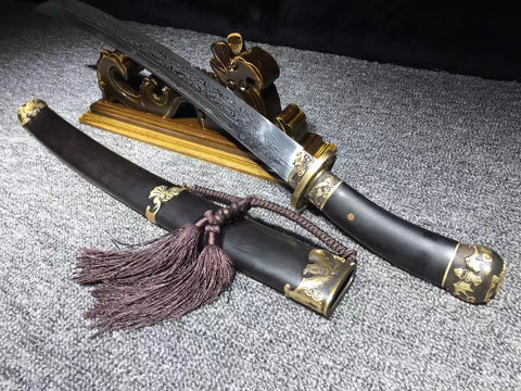 Folded steel Finely made black ebony Chinese Sword Qing Dao