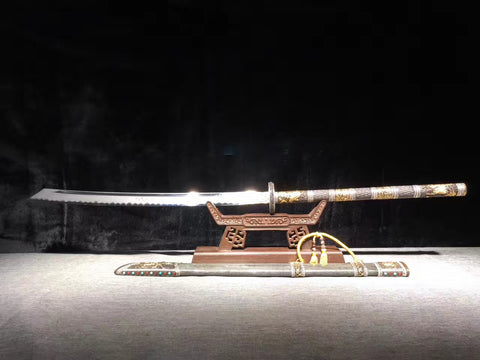Folded steel gilt silvering brass fitting Top Class rayskin Chinese Sword Kangxi Sabre Dao