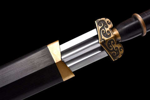 Folded Steel double Bo-Hi brass Fitting Black ebony Chinese Sword Dragon Jian