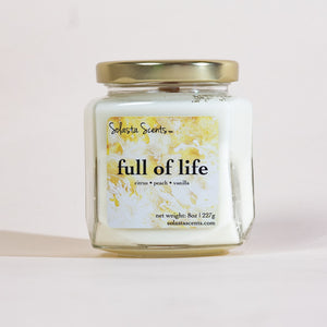 Full of Life - Luxury Coconut Wax | Wooden Wick Candle - Solasta Scents