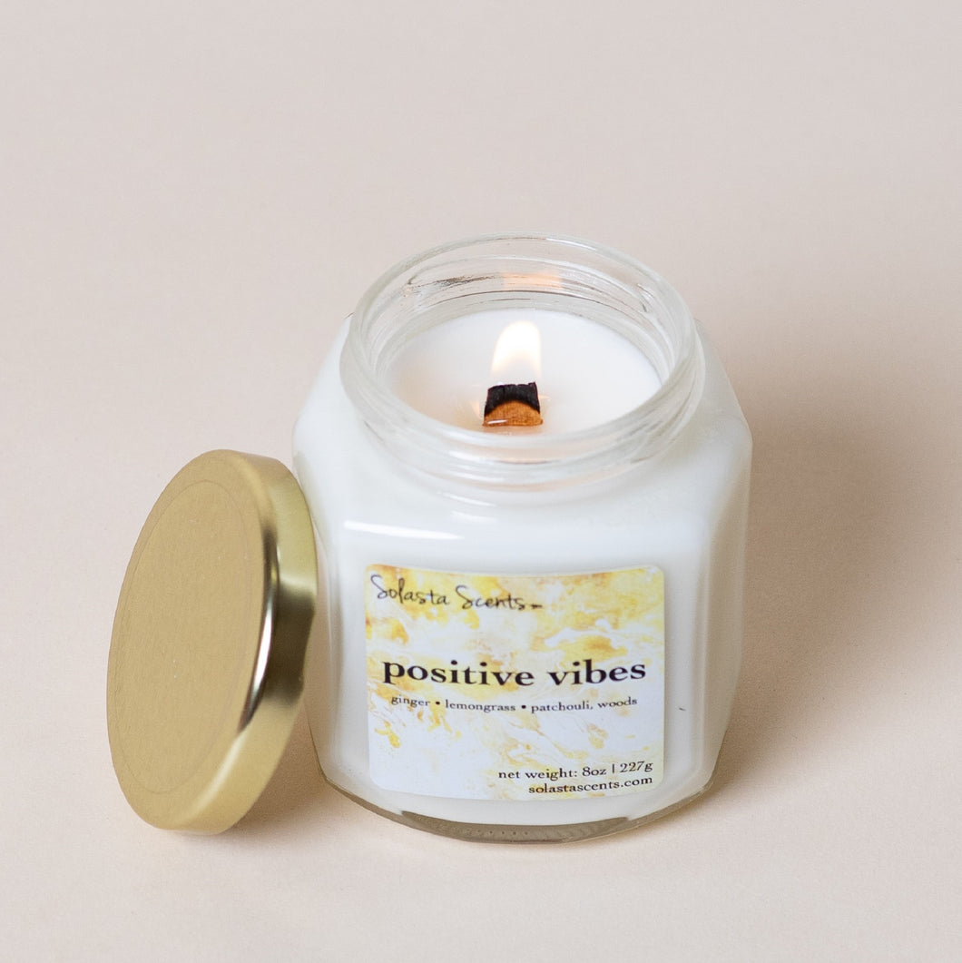 Positive Vibes - Luxury Coconut Wax | Wooden Wick Candle - Solasta Scents