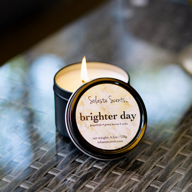 Brighter Day - Luxury Coconut Wax | Black Travel Candle - Solasta Scents