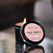 Load image into Gallery viewer, Cozy Nights - Luxury Coconut Wax | Black Travel Candle - Solasta Scents