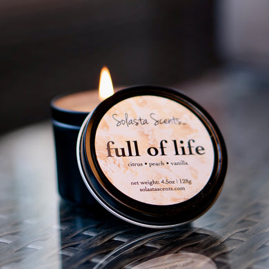 Full of Life - Luxury Coconut Wax | Black Travel Candle - Solasta Scents