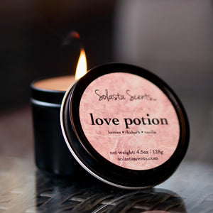 Love Potion - Luxury Coconut Wax | Black Travel Candle - Solasta Scents
