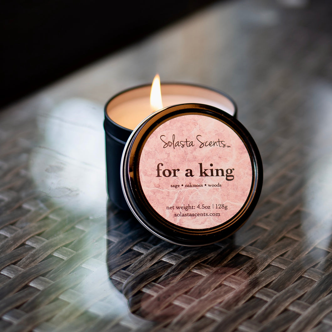 For a King - Luxury Coconut Wax | Black Travel Candle - Solasta Scents