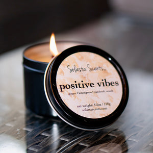 Positive Vibes - Luxury Coconut Wax | Black Travel Candle - Solasta Scents