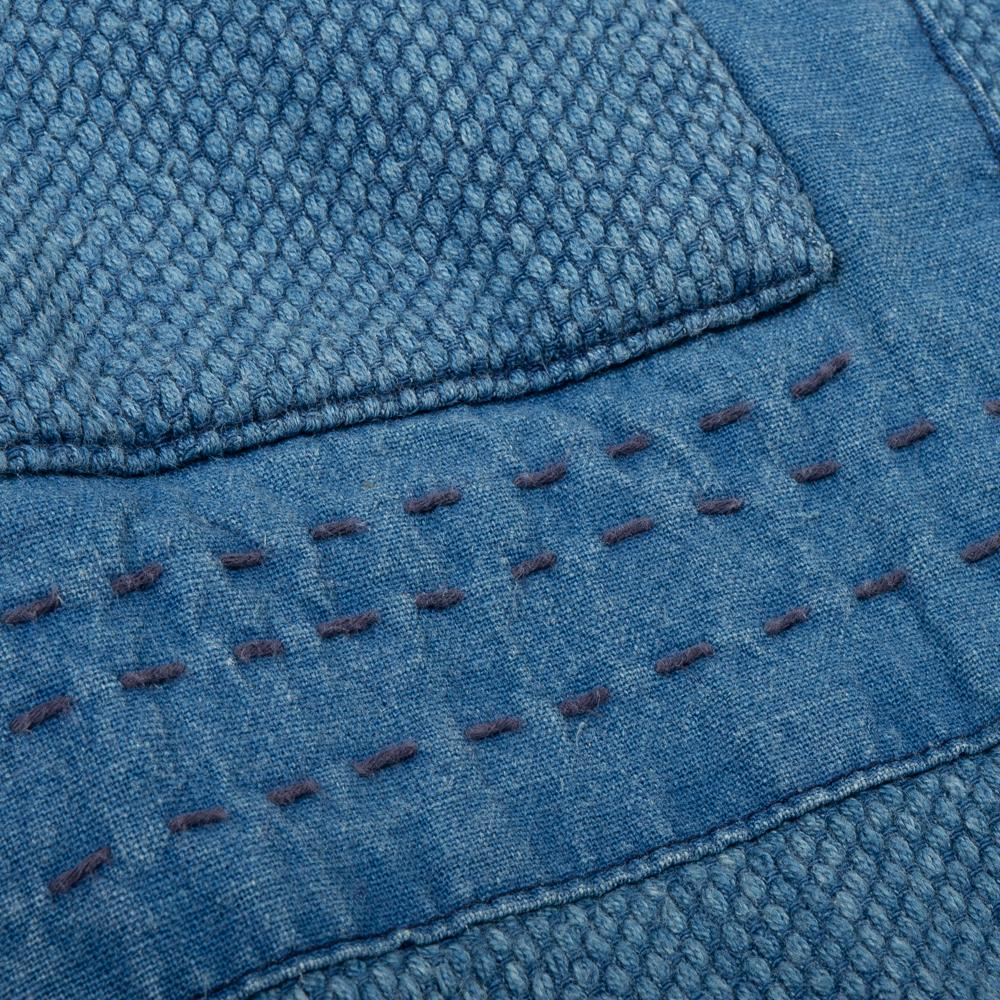 "BLUE BLUE JAPAN MEN'S WOVEN INDIGO YARN DYED ""SASHIKO""  BLUE PATCHWORK FARMER'S ""HAORI"" JACKET"