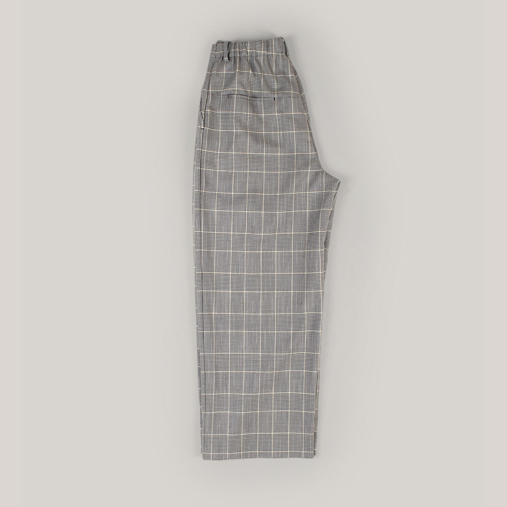 BLUE BLUE JAPAN WOMEN'S WOOL SPLASHED PATTERN GLEN PLAID WIDE STRAIGHT PANTS