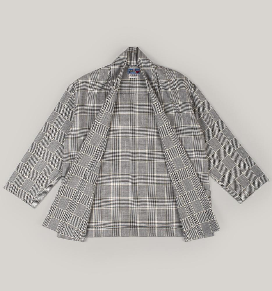 BLUE BLUE JAPAN WOMEN'S WOOL SPLASHED PATTERN GLEN PLAID SHAWL COLLAR JACKET