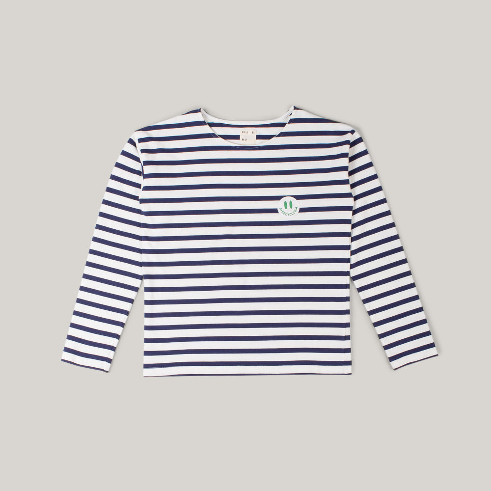 GIRLS OF DUST SAILOR LONG SLEEVE CADET STRIPE - WHITE NAVY