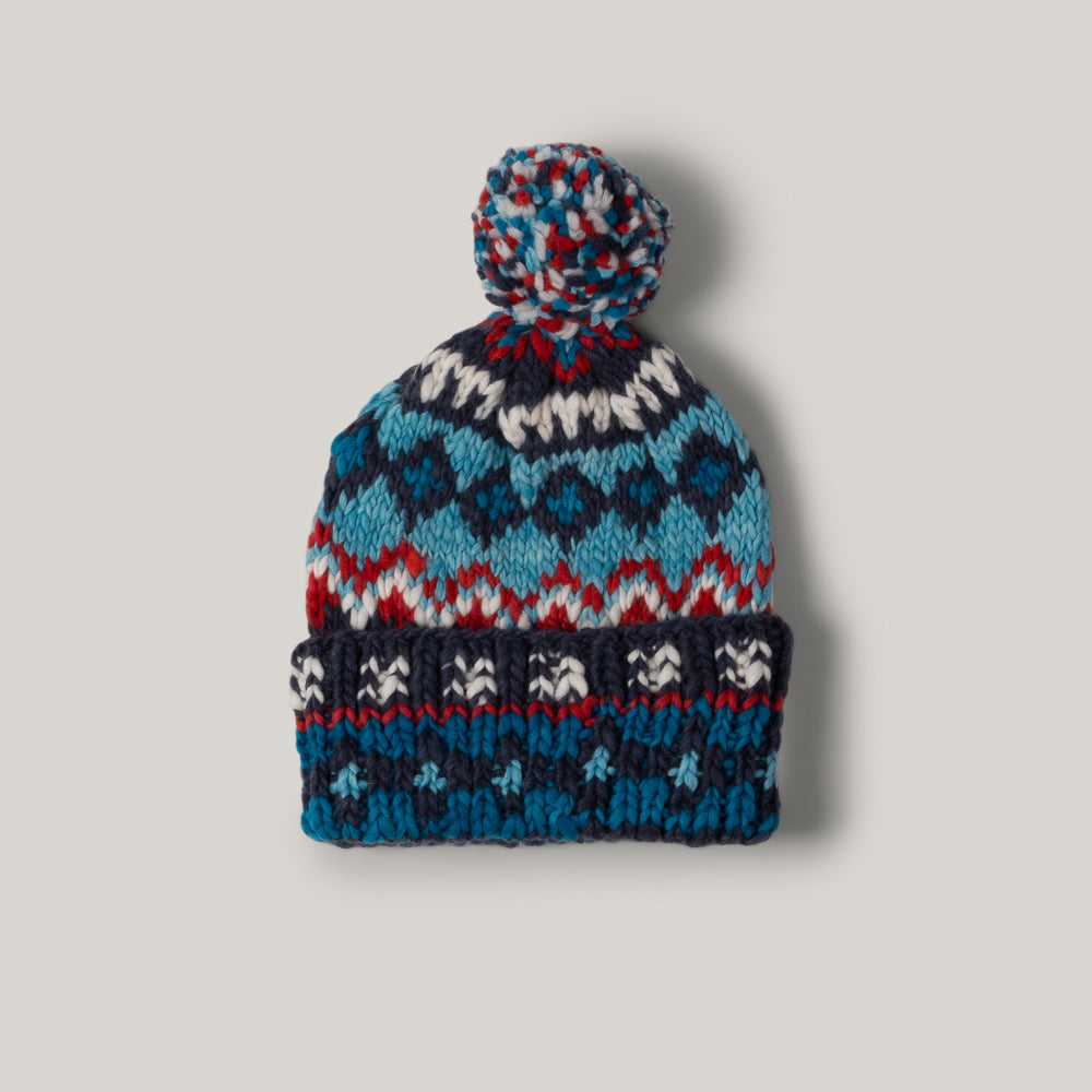 CHAMULA DOUBLE CUFF CAP FAIR ISLE - REAL INDIGO