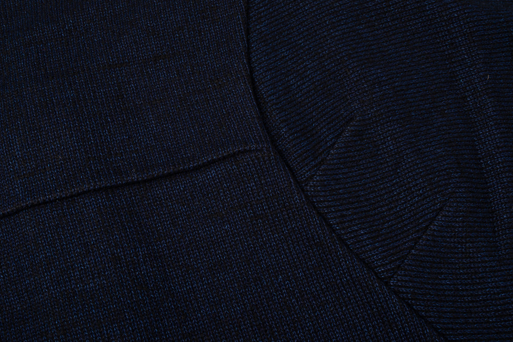 BLUE BLUE JAPAN WOMEN INDIGO YARN DYED PLAITED JERSEY FULL WIDE SLEEVE CARDIGAN - INDIGO