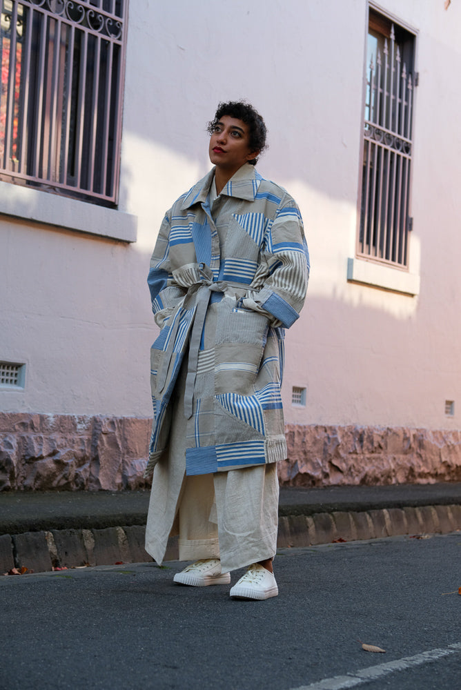 MONITALY JUTE COAT PATCHWORK