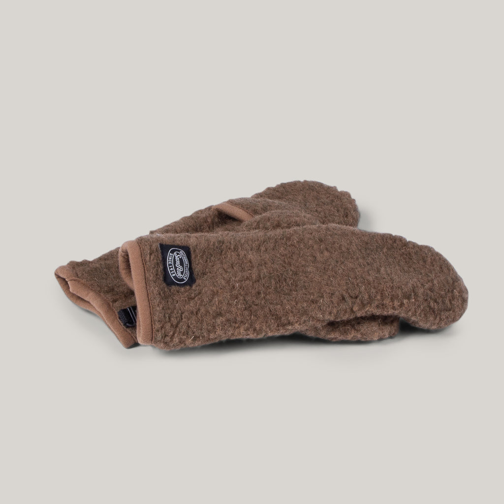 SNOW PEAK WOOL FLEECE MITTEN - BROWN