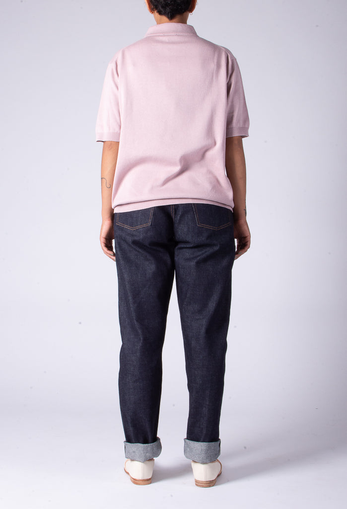 LENO POLO COLLAR HALF SLEEVE SWEATER - PINK