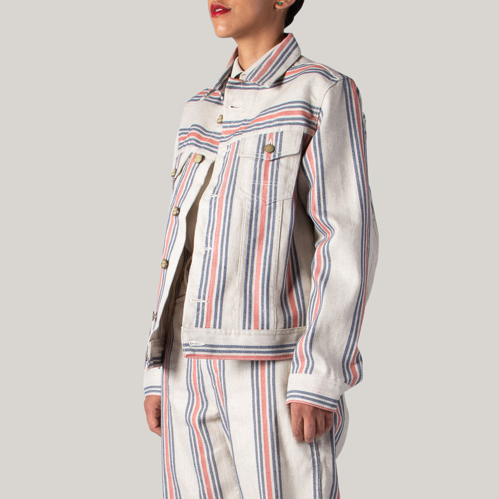 GIRLS OF DUST FIT DENIM JACKET - PRISONERS STRIPE