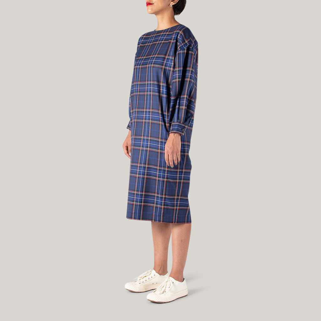 BLUE BLUE JAPAN WOMEN'S CHILL WOOL TWILL BALLOON SLEEVE PULLOVER DRESS - CHECK