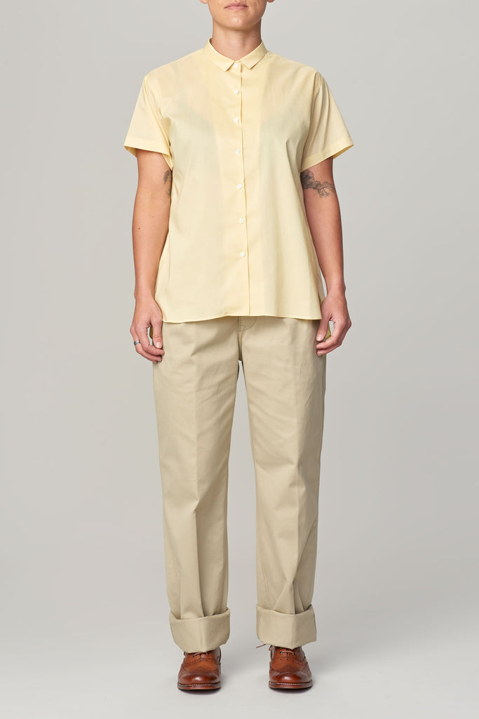 LENO SHORT SLEEVE GATHERED BLOUSE - YELLOW