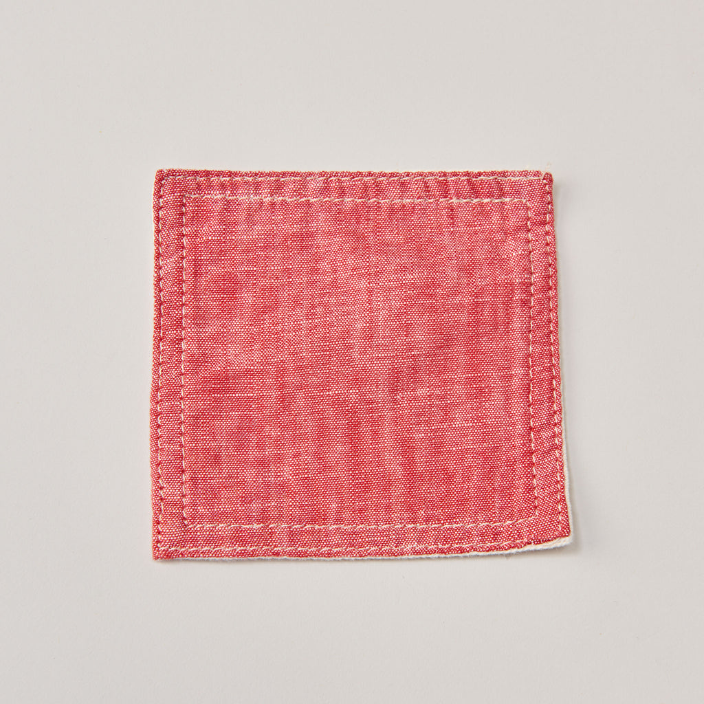 BASSHU RED CHAMBRAY COASTER SET