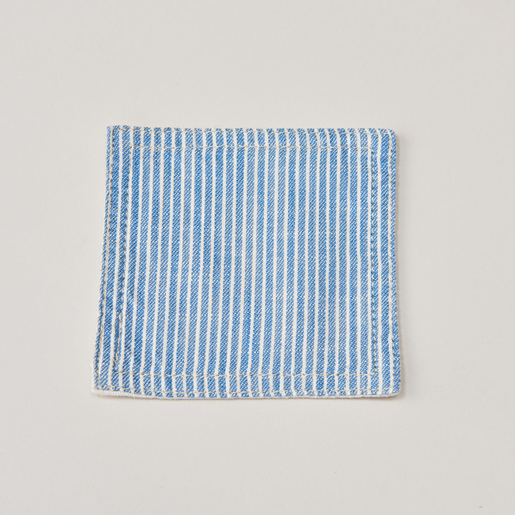 BASSHU BLUE PINSTRIPE COASTER SET