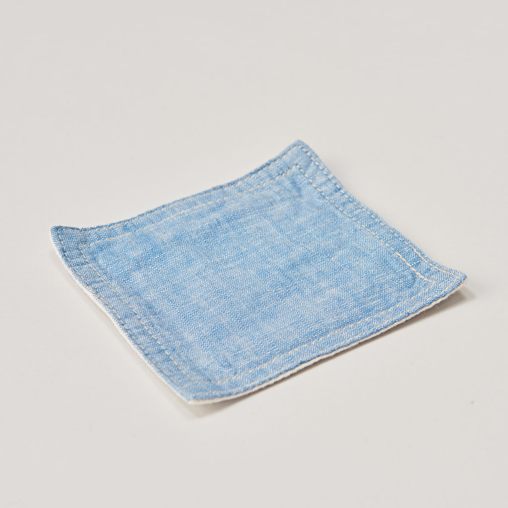 BASSHU BLUE CHAMBRAY COASTER SET